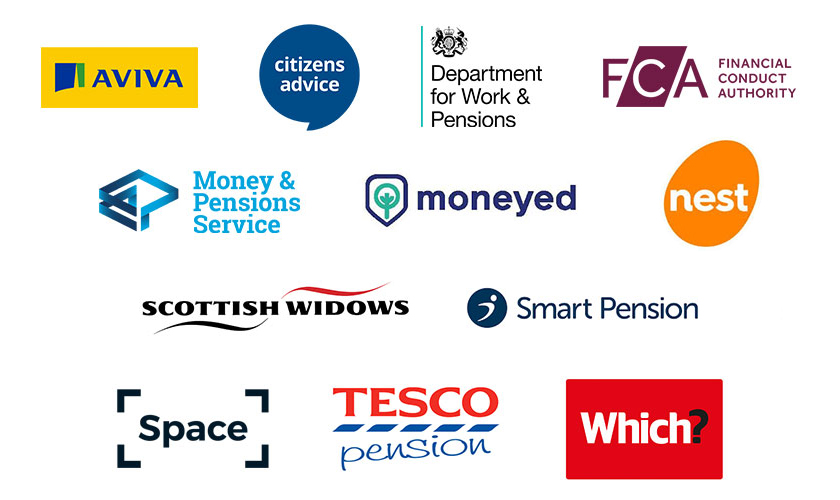 Logos for: Aviva Savings & Retirement, Citizens Advice, DWP, FCA, Hargreaves Lansdown, MaPS, Moneyed, Nest Members' Panel, Scottish Widows (part of Lloyds Banking Group), Smart Pension Limited, Space, Tesco, Which?